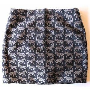 J.CREW Short Black Skirt~Silver Embroidered Zebras